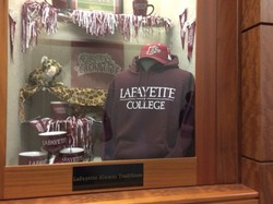 A photo of a trophy case at Lafayette College.