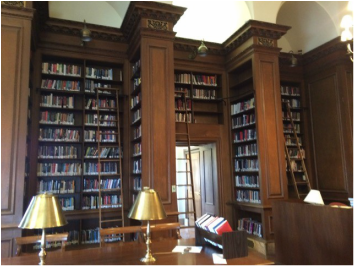 The interior of a library at Lafayette College.